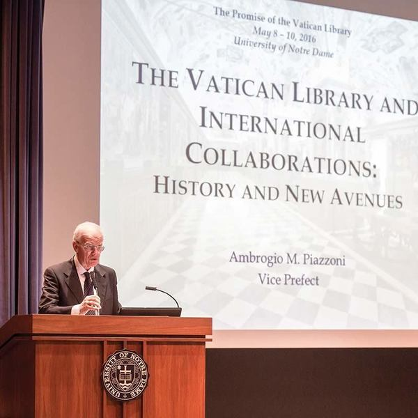 Dr. Ambrogio Piazzoni, Vice Prefect of the Vatican Library, speaks at the Vatican Library Conference. (Photo by Matt Cashore/University of Notre Dame)