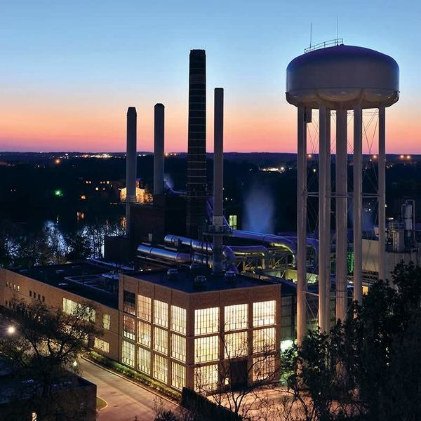Power Plant at dusk. Photo by Matt Cashore/University of Notre Dame