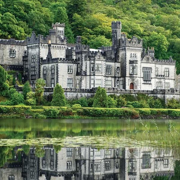Kylemore Abbey and Victorian Walled Gardens in Connemara, County Galway, Ireland.