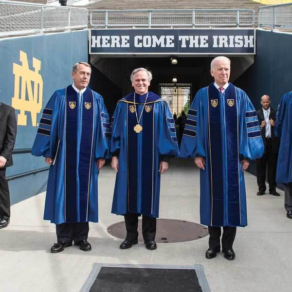 University of Notre Dame president Rev. John Jenkins, C.S.C. is flanked by Laetare Medal recipients, John Boehner, former Speaker of the House and Vice President Joe Biden. (Photo by Barbara Johnston/University of Notre Dame)